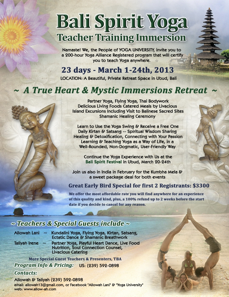 Full Program Info for Our Bali Yoga Immersion, March, 2013